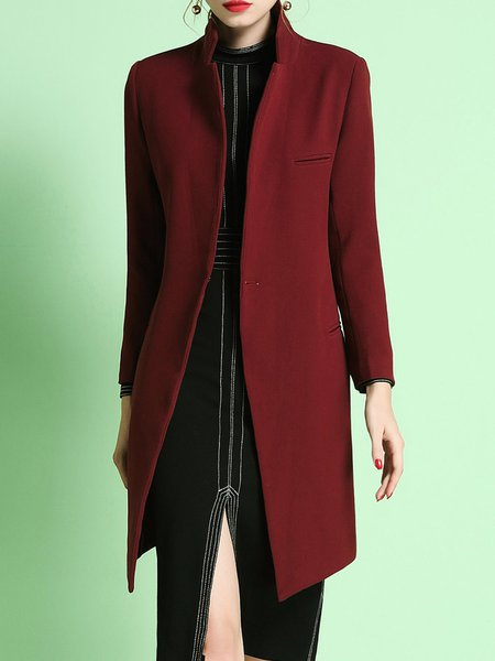 Wine Red Polyester Plain Lapel Long Sleeve Coat