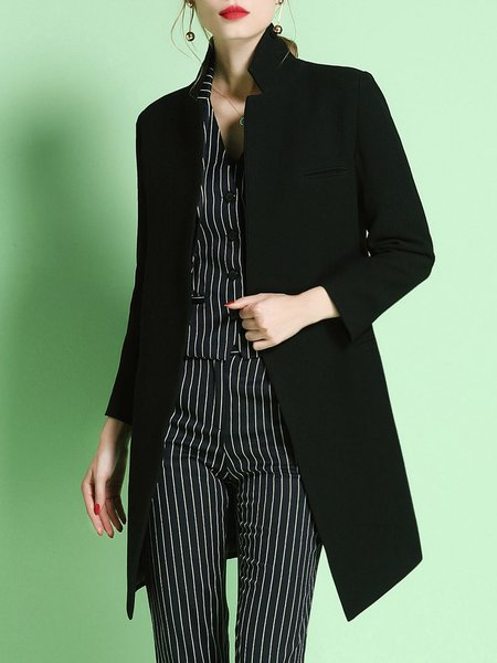 Black Lapel Elegant Plain Coat