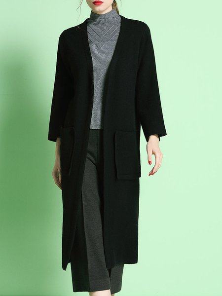 Black Long Sleeve Slit Pockets Knitted Plain Coat