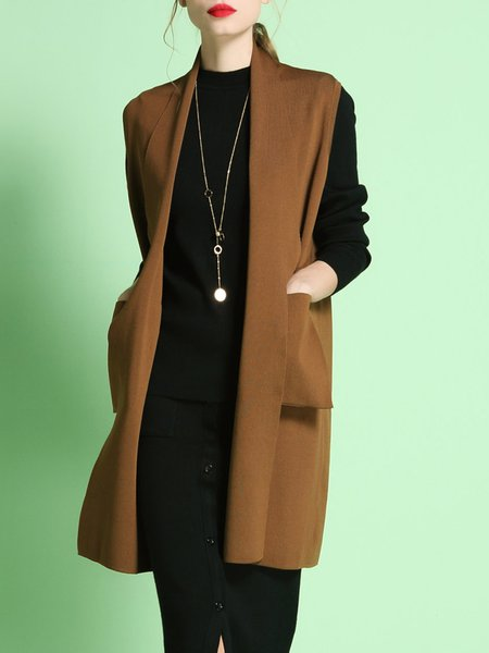 Brown Shift Plain Knitted Elegant Cardigan