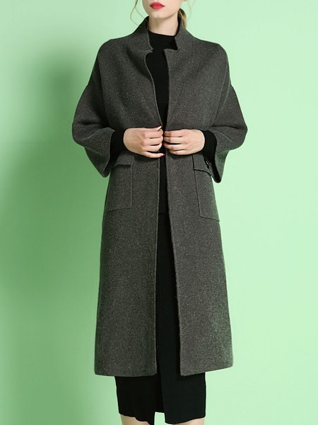 Elegant Long Sleeve Lapel Pockets Coat