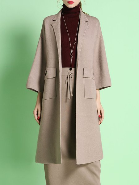 Apricot Elegant Shift Lapel Pockets Coat