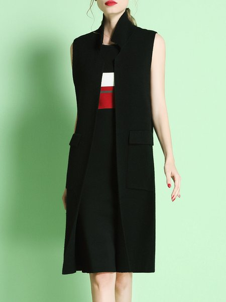 Black Shift Pockets Sleeveless Plain Vests And Gilet