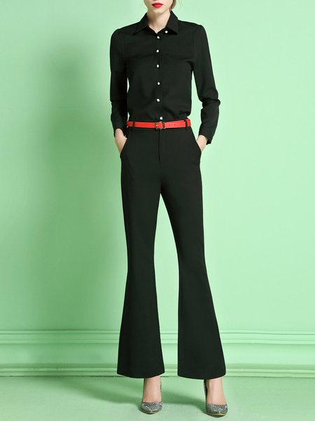 Black Two Piece Formal Buttoned Flared Jumpsuit