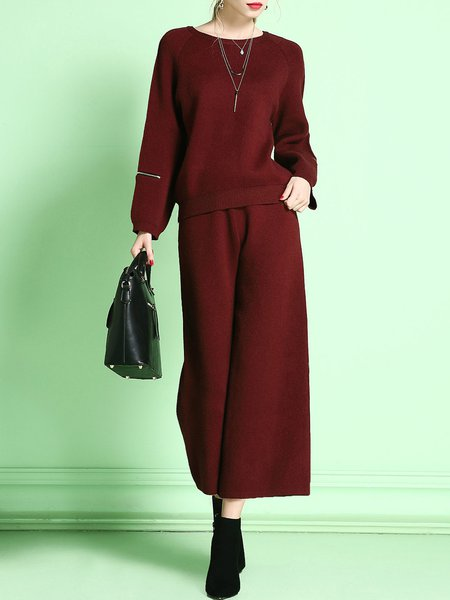Wine Red Knitted Two Piece Wide Leg Jumpsuit