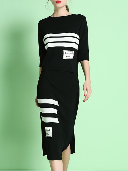 Black Two Piece Printed Knitted Stripes Crew Neck Elegant Midi Dress