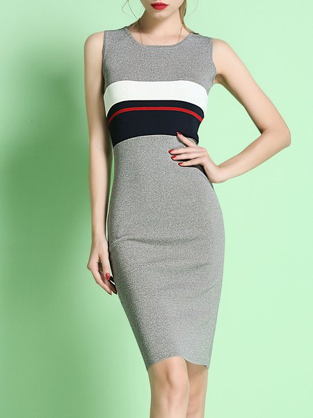 Color-block Elegant Stripes Sleeveless Sheath Sweater Dress