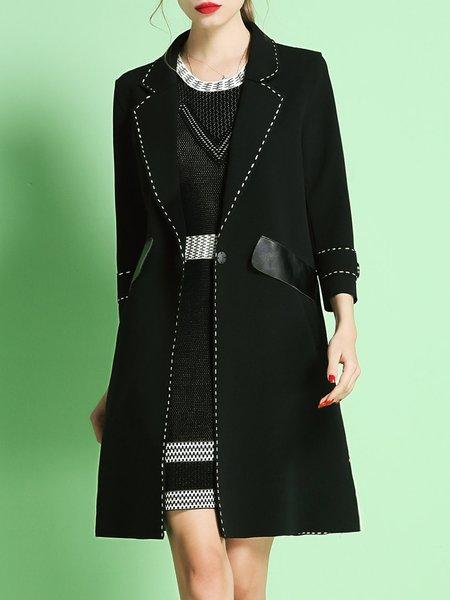 Elegant Polyester Long Sleeve Lapel Paneled Coat