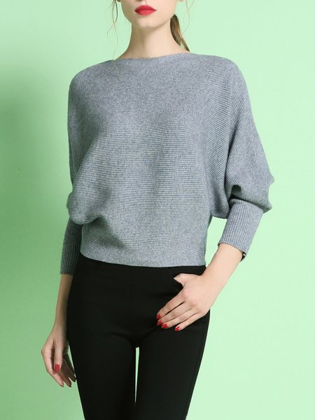 Gray Bateau/boat Neck Knitted Elegant Plain Sweater