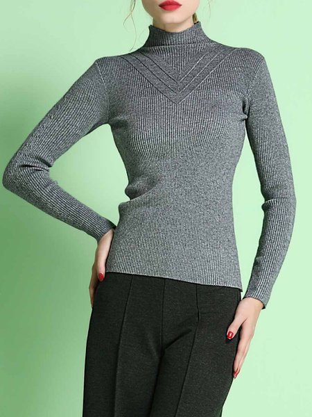 Turtleneck Casual Long Sleeve Knitted Sweater