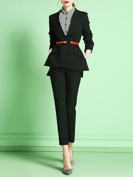 Black Long Sleeve Two Piece V Neck Suits And Separate