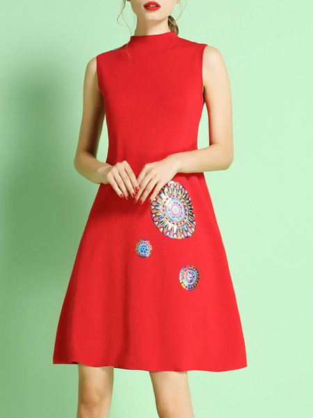 Red Elegant Sequins Embroidery Knitted Mini Dress