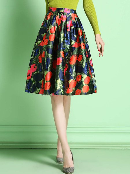 Green Polyester Floral-print Vintage Midi Skirt