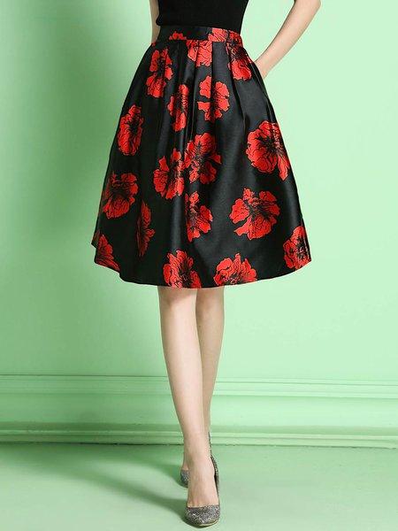 Black Vintage Floral Polyester Midi Skirt