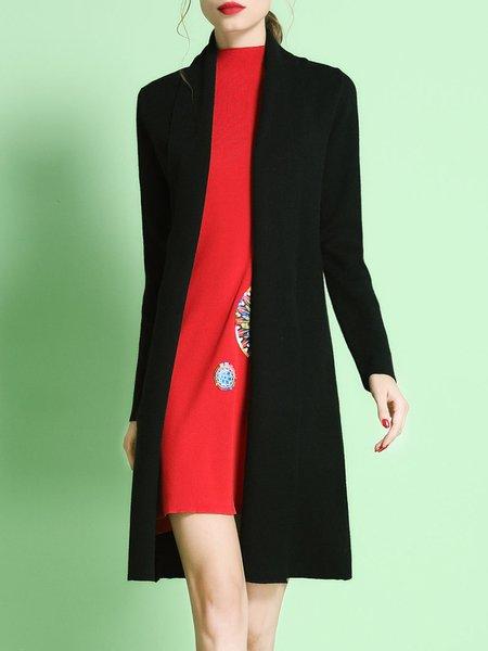 Black Polyester Knitted Plain Elegant Cardigan