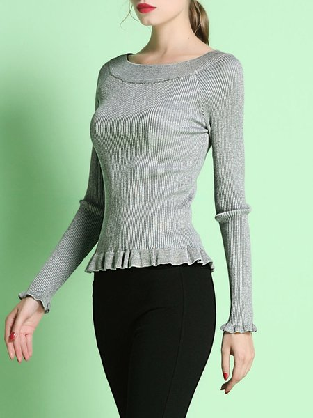 Gray Girly Ruffled Plain Sweater