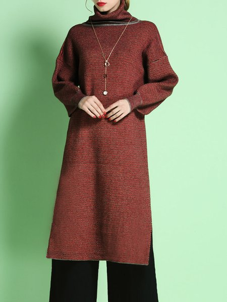 Red Polyester High Low Plain Balloon Sleeve Sweater Dress