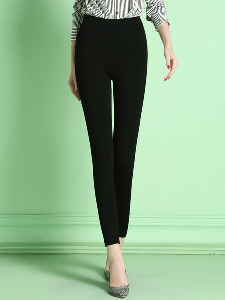Black Spandex Knitted Casual Skinny Leg Pants