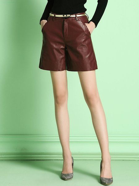 Burgundy Casual Plain Shorts