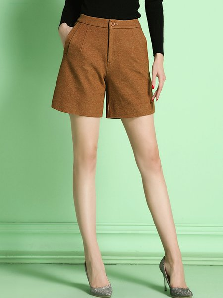 Khaki Casual Plain Pockets Shorts