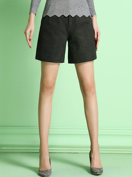 Gray Plain Casual Polyester Short