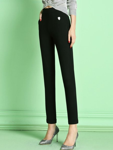 Black Casual Knitted Skinny Leg Pants