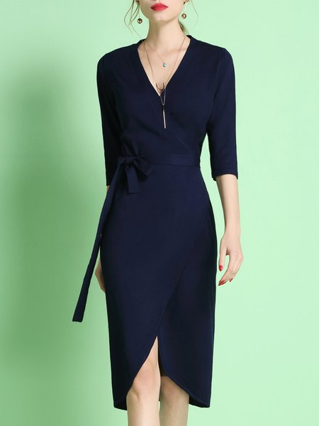 V Neck 3/4 Sleeve Knitted Plain Elegant Sweater Dress