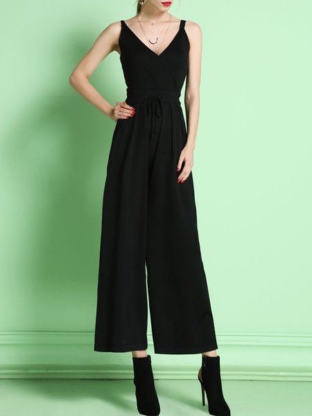 Black V Neck Casual Jumpsuit