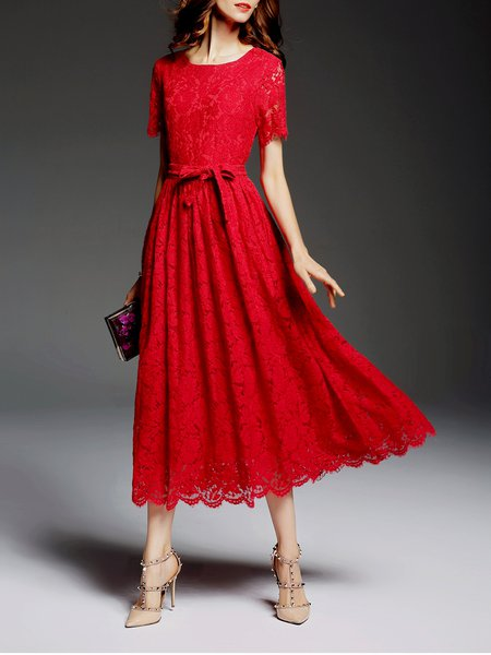 Red Short Sleeve Lace Midi Dress with Belt