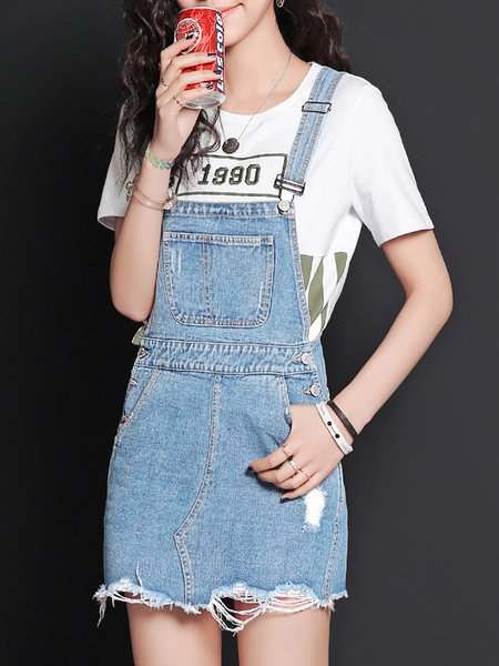 Blue Casual Cotton A-line Overall