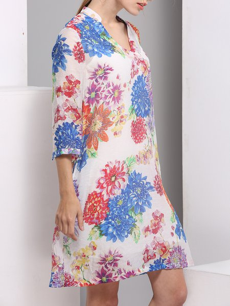 White Floral Rayon 3/4 Sleeve Mini Dress