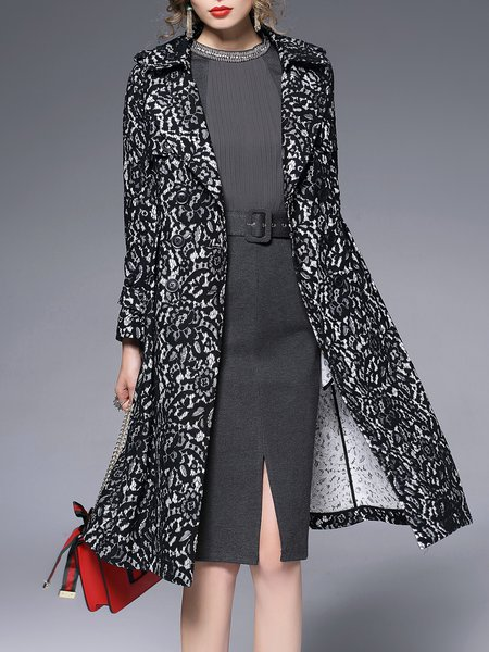 Black Pockets Long Sleeve Lapel Crocheted A-line Coat