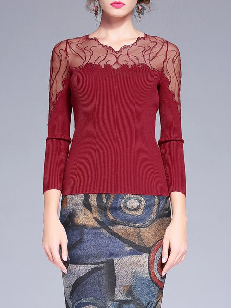 Long Sleeve Sheath Paneled Sweater