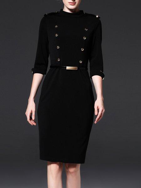 Black Elegant Sheath Buttoned Plain Midi Dress