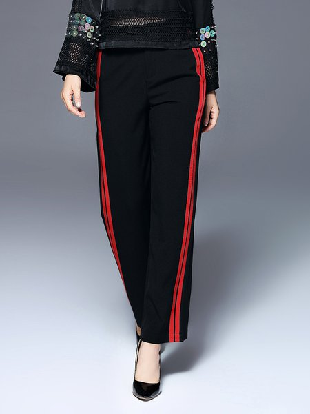 Black Polyester Casual Wide Leg Pants