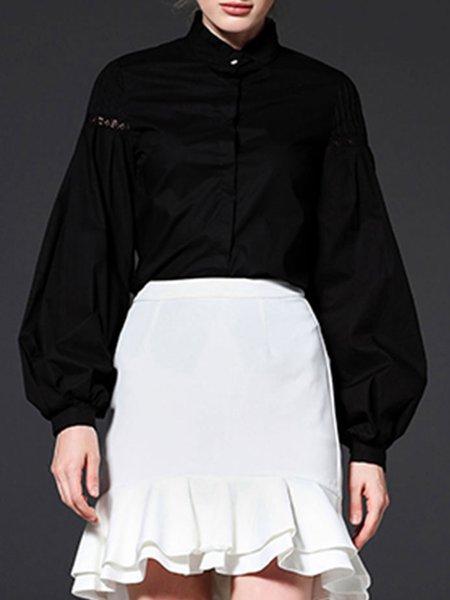 Black Balloon Sleeve Paneled Cotton Plain Blouse
