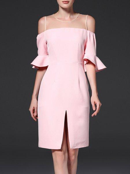 Elegant H-line Frill Sleeve Ruffled Midi Dress