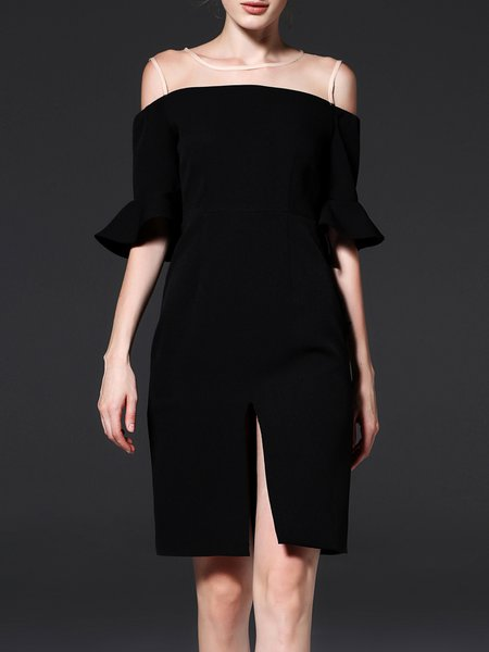 Black Frill Sleeve Crew Neck Solid H-line Midi Dress