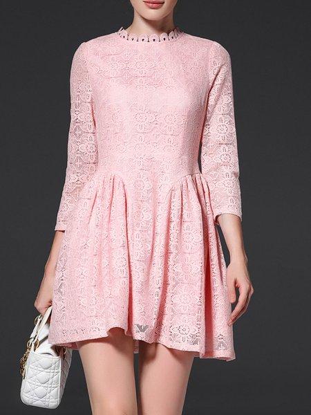 Pink Floral Pierced 3/4 Sleeve Lace Mini Dress