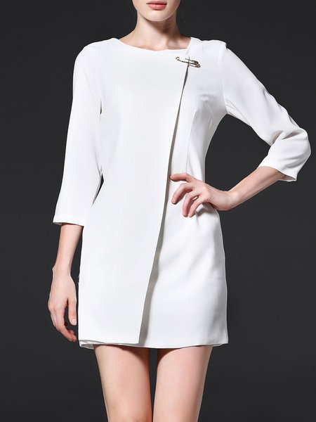 White Zipper Crew Neck Simple Mini Dress