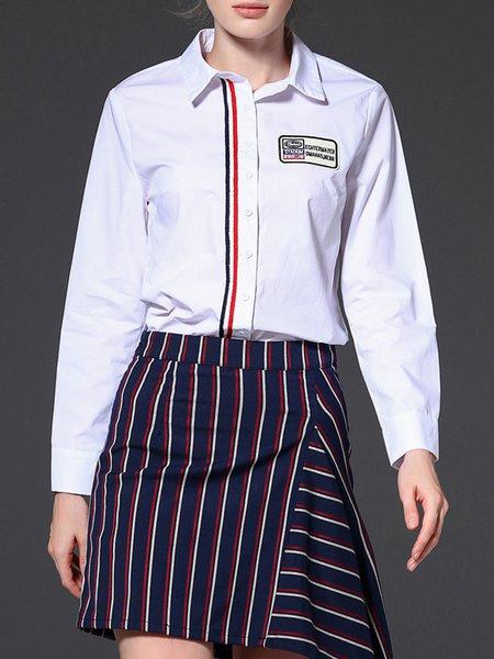 White Plain Simple Shirt Collar Color-block Blouse
