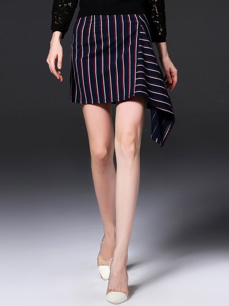 Blue Stripes Asymmetrical Statement Mini Skirt