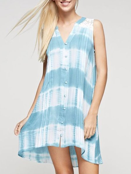 Blue Sleeveless Paneled Tunic
