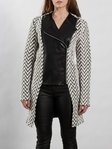 Long Sleeve Paneled H-line PU Casual Coat