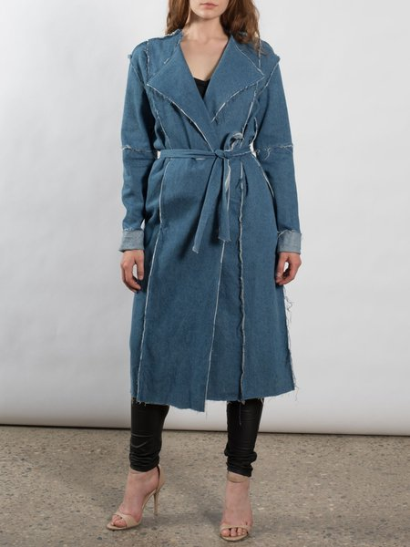 Blue H-line Plain Lapel Long Sleeve Coat