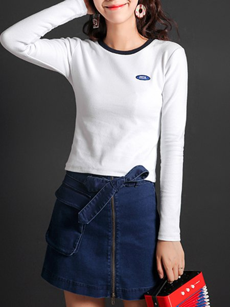 White Sheath Crew Neck Long Sleeved Top