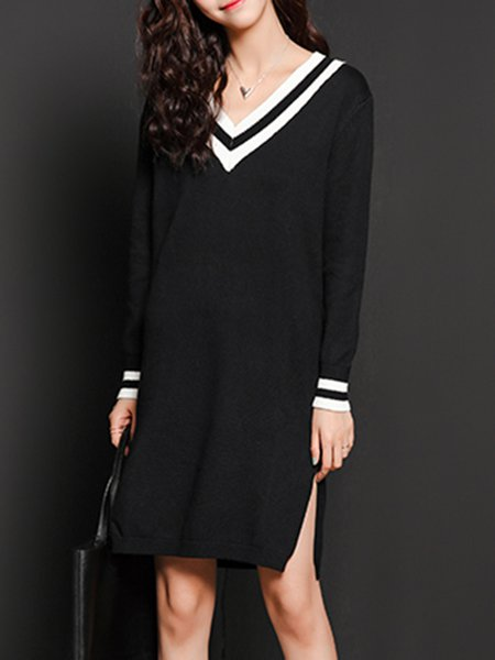 Knitted Shift Long Sleeve Casual Slit Sweater Dress