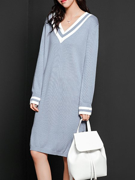 Light Blue Casual Slit Knitted Sweater Dress