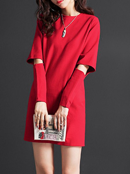 Red Cutout Solid Casual Mini Dress