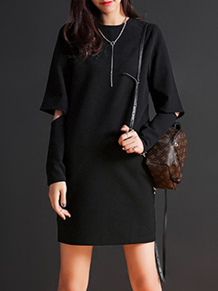 Black Solid Casual Cutout Crew Neck Mini Dress